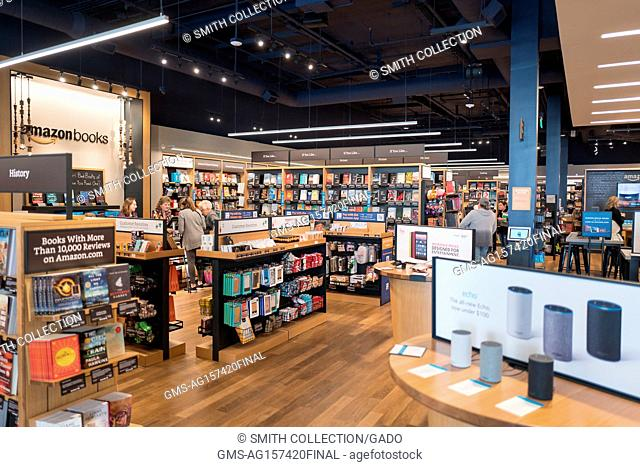 Interior of an Amazon Books physical retail store at the Broadway Plaza shopping center in Walnut Creek, California, November 17, 2017