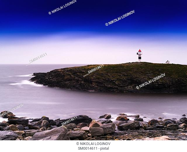 Horizontal vivid Norway lighthouse ocean bay landscape background backdrop