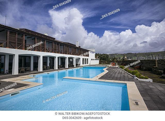 Portugal, Azores, Faial Island, Horta, swimming pool of the Pousada Forte Horta inside the Forte de Santa Cruz fort