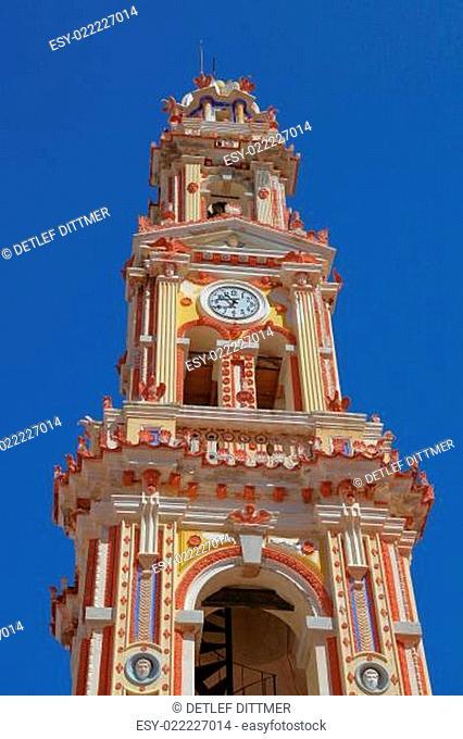 Uhrenturm der Klosterkirche Panormitis auf der Insel Symi, Griechenland