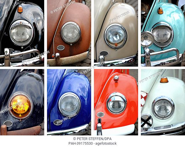 COMBO - a composite picture shows various mudguards of different VW Beetles pictured at the May Day Volkswagen Beetle meeting camp in front of cars in Hanover
