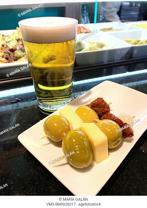 Glass of beer and tapa. Madrid, Spain