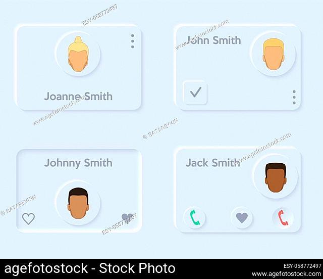 Neumorph UI kit layout. Phone book and contact list. Light color set. Skeuomorph Trend Design. Vector illustration