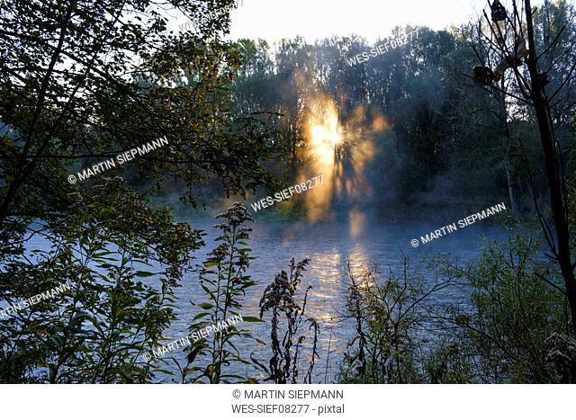 Germany, Upper Bavaria, Oberhummel, Nature Reserve Isarauen, Isar river at sunrise