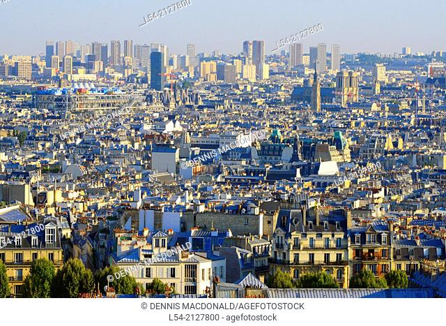 View of Paris France from Montmartre Hill Europe density