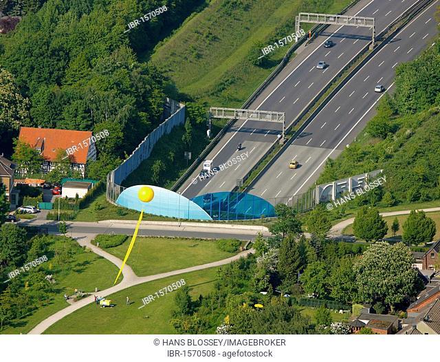 Aerial view, mine Graf Bismarck 3, 5, A2 motorway cover, Schachtzeichen RUHR.2010 art installation, Gelsenkirchen, Ruhrgebiet region, North Rhine-Westphalia