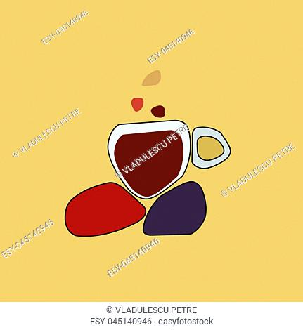 cup of coffee on hot rocks