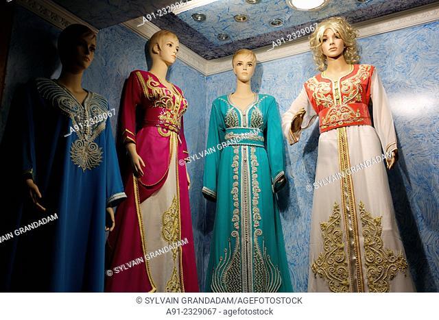 North Africa, Morocco, City of Fez (Fes), Medina, formal arabic women dresses shop