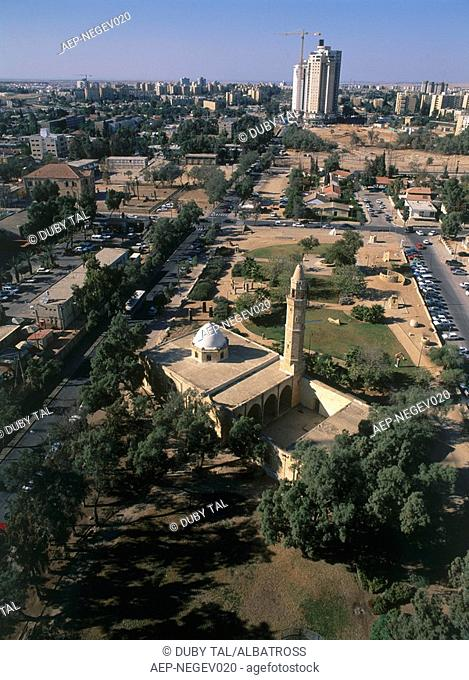 Aerial photograph of the old Turkish mosque in the modern city of Be'er Sheva