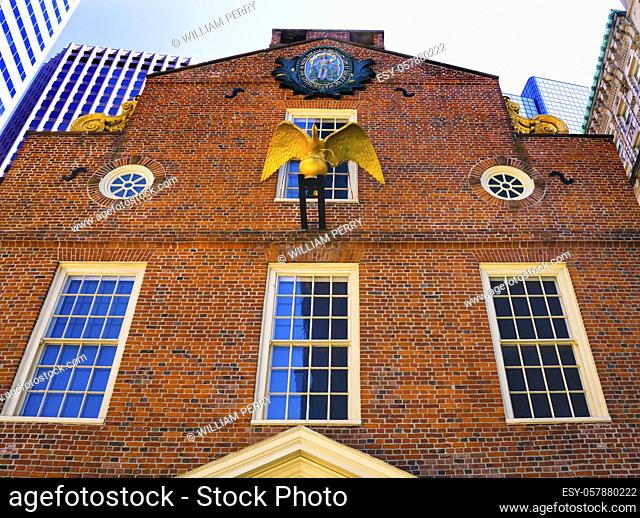 Golden Eagle Massachusetts Seal Faneuil Meeting Hall Freedom Trail Boston Massachusetts. Meeting place American Revolution later Town Hall British government...