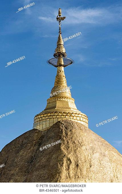 Kyaiktiyo Pagoda, Golden Rock Pagoda on Mt. Kyaiktiyo, Burma, Myanmar