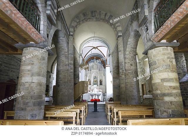 Interior of Saint Mary church at Mountain village of Vilamos Aran valley Lleida Catalonia Spain