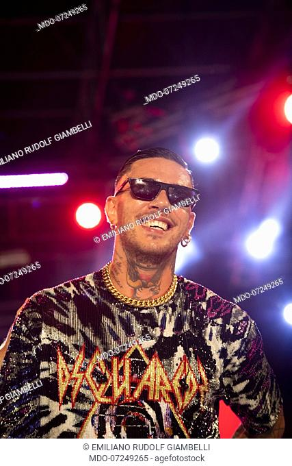 Italian rapper Emis Killa, pseudonym of Emiliano Rudolf Giambelli, during the concert of the Deejay On Stage review organized by Radio Deejay
