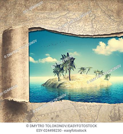 Travel and adventure backgrounds with vintage map and beautiful tropical island