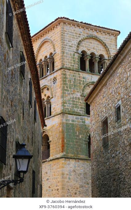 Romanesque tower of church of Santa María la Mayor. Trujillo. Cáceres province. Extremadura. Spain