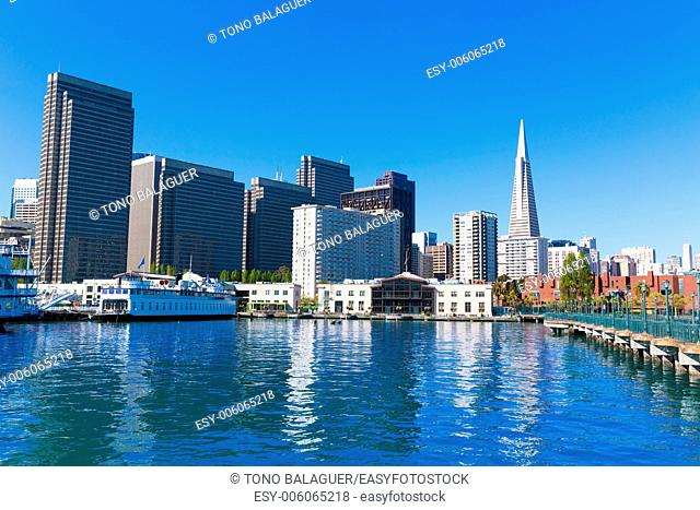 San Francisco downtown from pier 7 in California USA