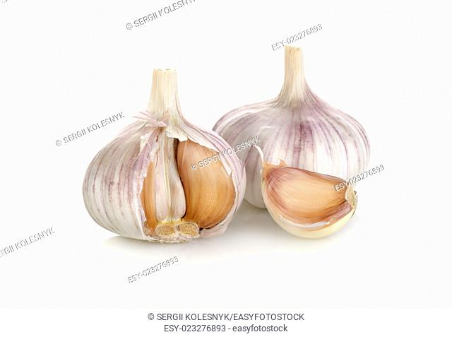 Raw garlic isolated on a white background