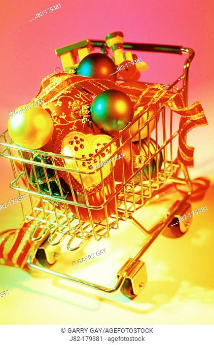Shopping cart full of christmas ornaments