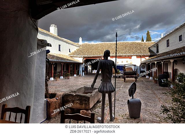 Many episodes of Don Quixote de la Mancha are staged at the â. œVentasâ. . , inns on the roadsides of Spain . Puerto Lapice still has an intact 17 th century â