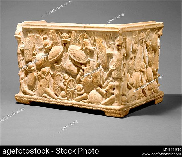 Marble fragment of a cinerary urn. Period: Early Imperial, Julio-Claudian; Date: 1st half of 1st century A.D; Culture: Roman; Medium: Indurated limestone or...