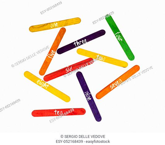 the numeration from one to ten on coloured wooden slats