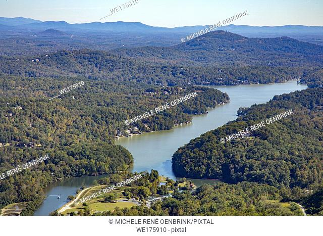 View of Lake Lure from Chimney Rock State Park in the foothills of Hickory Nut Gorge North Carolina