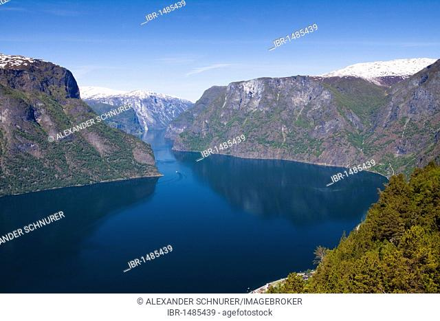 The panoramic view of the Aurlandsfjord with the towns Flam and Aurland, Norway, Scandinavia, Europe