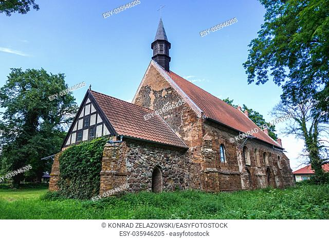 Exterior of 14th century gothic church in Chlebowo village, Gryfino County in West Pomeranian Voivodeship of Poland