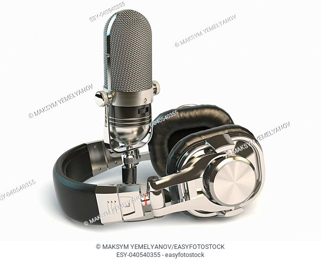 Microphone and headphones isolated on white. Audio recording or radio concept. 3d illustration