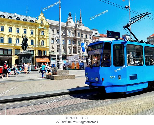Tram at Ban Jelacic Square, Zagreb, Croatia