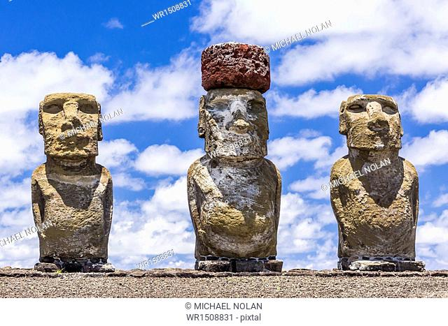 Details of moai at the 15 moai restored ceremonial site of Ahu Tongariki on Easter Island (Isla de Pascua) (Rapa Nui), UNESCO World Heritage Site, Chile