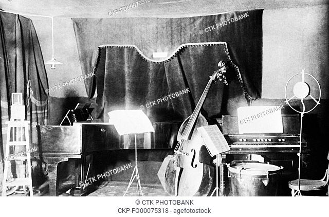 Radio station of Czechoslovak Radio in tent in Kbely near Prague, Czechoslovakia, 1923. The first broadcast of Czechoslovak Radio was held May 18, 1923