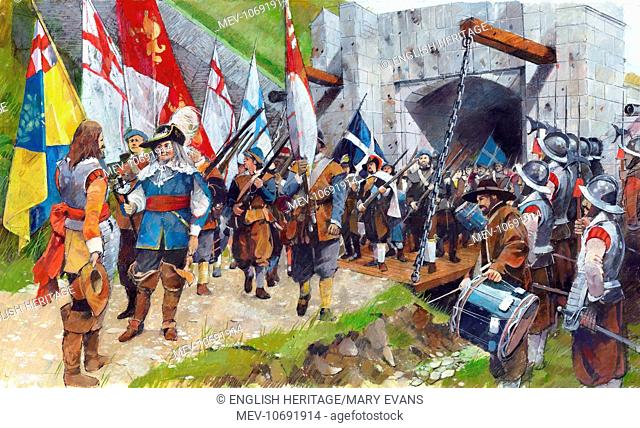 Pendennis Castle, Cornwall. 17th August 1646. 'Honourable' surrender of Royalist troops. Civil War reconstruction drawing by Ivan Lapper