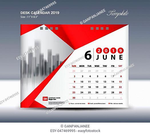 JUNE Desk Calendar 2019 Template, Week starts Sunday, Stationery design, flyer design vector, printing media creative idea design