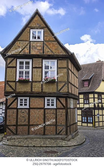 Gable end of the listed half-timbered house of Finkenherd 3 in Quedlinburg, Saxony-Anhalt, Germany