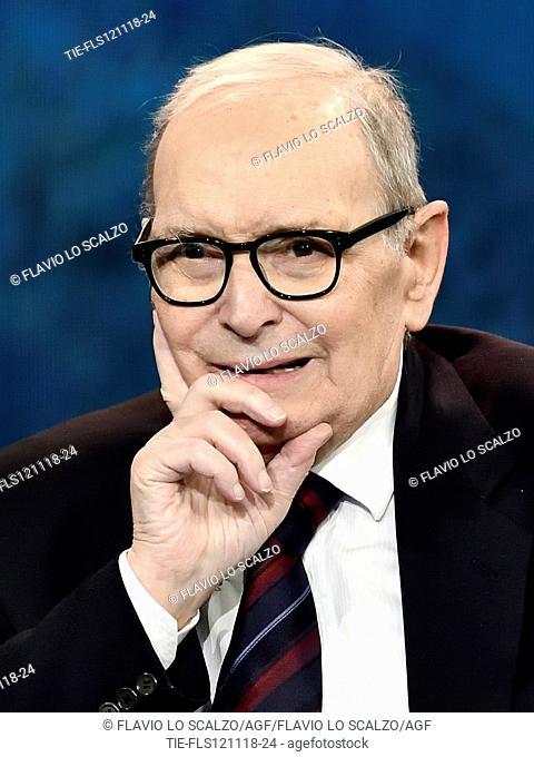 Musical composer Ennio Morricone during the tv show Che tempo che fa, Milan, ITALY- 11-11-2018
