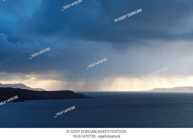 Rain showers fall over Loch Brittle, Glenbrittle, Isle of Skye, Scotland