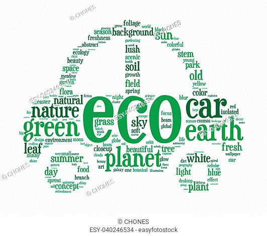 Green electric hybrid car info-text (cloud word) composed in the