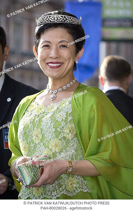 Princess Takamado of Japan leaves the Grand Hotel for the Banquet at the Royal Palace on the occasion of the 70th birthday of King Carl Gustaf, Stockholm