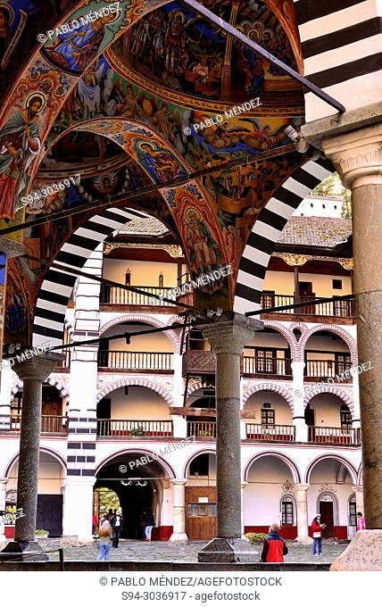 Arches and Series of frescoes in the Church of the Virgin in Rila Monastery, Rila mountains, Bulgaria