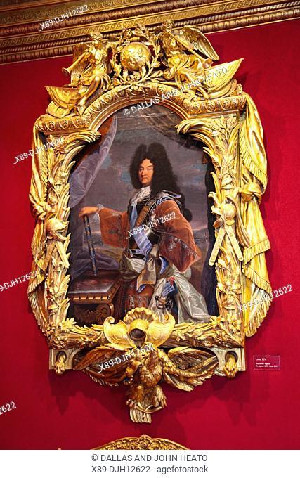 France, Loire Valley, Indre- et- Loire, Chenonceaux, Château de Chenonceau, LouisX1V's Drawing Room, Portrait of Louis X1V