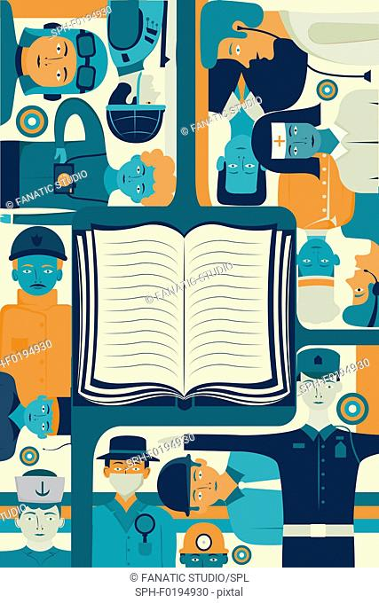 Illustration of book surrounded by successful people