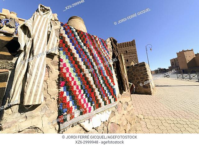 Textile carpets in a souk, Ouarzazate, Morocco, Africa