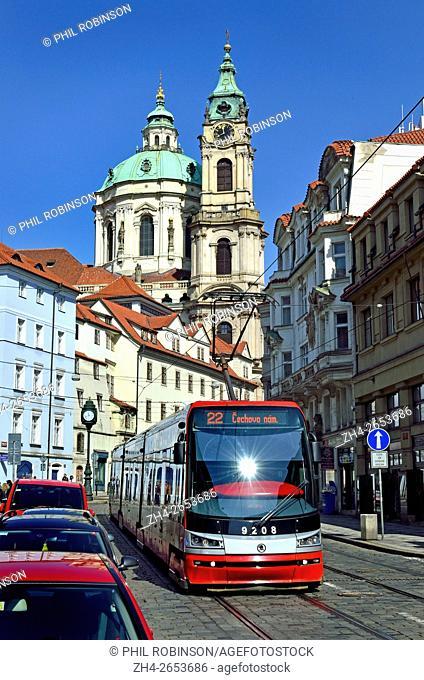 Prague, Czech Republic. Modern tram / streetcar (Skoda 15T / ForCity Alfa) in Ujezd (street)