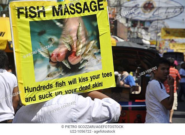 Bangkok (Thailand): 'fish massage' sign at Khao San Road