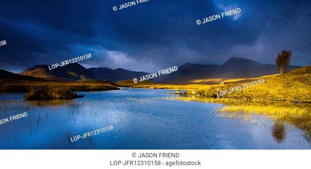 Scotland, Highland, Rannoch Moor. Lochan an Stainge located on Rannoch Moor with the dominating peak of the Black Mount and surrounding mountains in the...