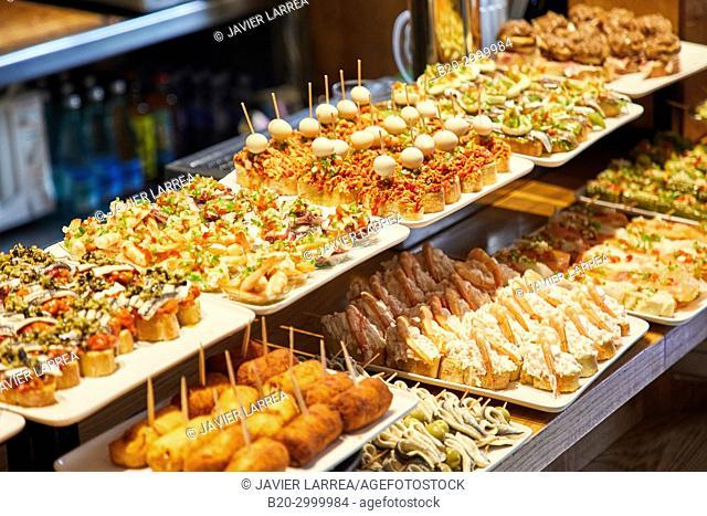 Pintxos, Bar Restaurante Portaletas, Parte Vieja, Old Town, Donostia, San Sebastian, Gipuzkoa, Basque Country, Spain