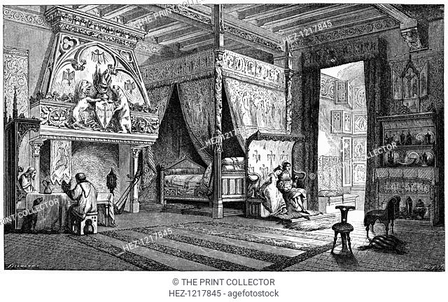 Dwelling room of a seigneur of the 14th century, (1870). A wood engraving from The Arts of the Middle Ages and at the Period of the Renaissance, by Paul Lacroix