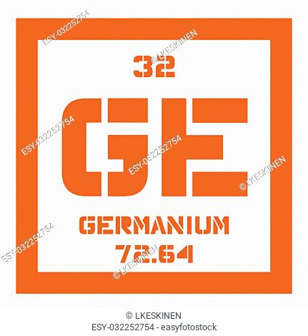 Germanium chemical element. Metalloid in carbon group, a semiconductor. Colored icon with atomic number and atomic weight