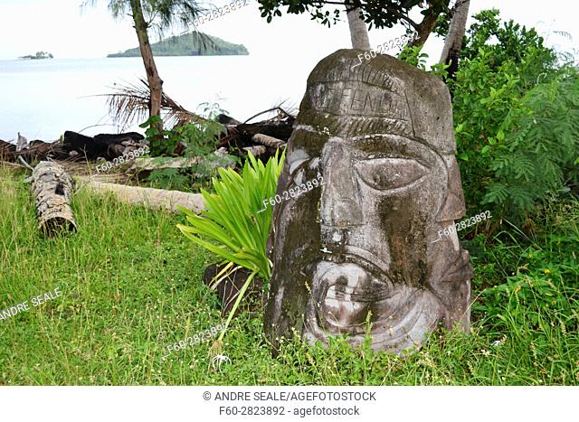 Traditional head sculpture or totem in the coast of Matautu, Wallis Island, Wallis and Futuna, Melanesia, South Pacific